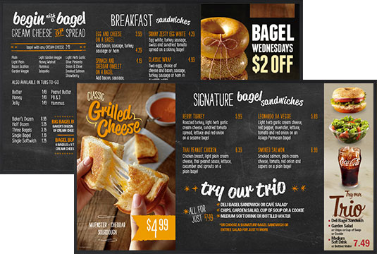 digital menu boards brueggers