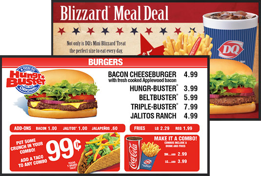 digital menu board dairy queen