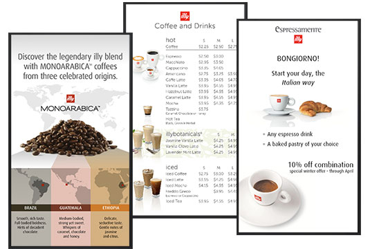 digital menu boards illy